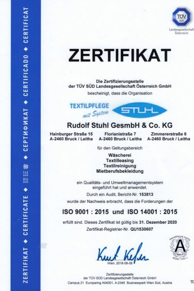 Umweltmanagement-Qualitätsmanagement-Zertifikat
